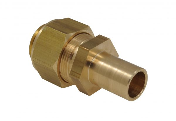 Straight Fitting, brass, one side for Corrugated Pipe DN25, one side with spigot external Ø 18