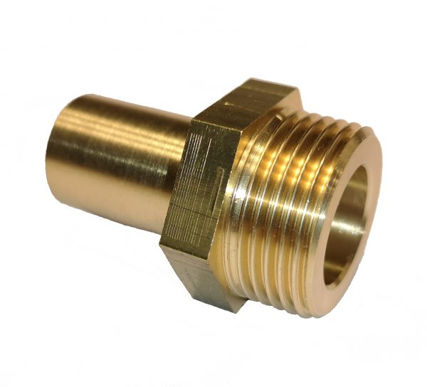 Soldering Nipple, brass: one side for copper pipe, one side with male thread and flat seat for corrugated s/s pipe